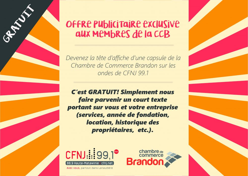 offre publicitaire exclusive aux membres de la chambre de commerce brandon chambre de commerce. Black Bedroom Furniture Sets. Home Design Ideas